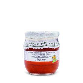 Pesto rosso ligure con basilico genovese Dop