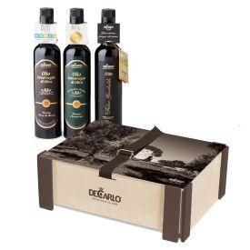 Confezione regalo in legno decorato Frantoio  di olio extravergine di oliva De Carlo Puglia