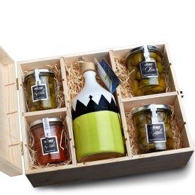 Box Trullo Media Valigetta regalo con brocca di olio EVO in maiolica e conserve De Carlo Puglia VARIO