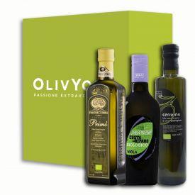 Tris di oli extravergine italiani biologici produttori Cutrera, Viola e Marvulli da 500 ml